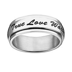 Stainless Steel 'True Love Waits' Spinner Purity Ring