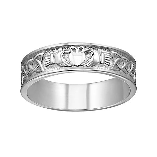 Sterling Silver Textured Claddagh Wedding Band