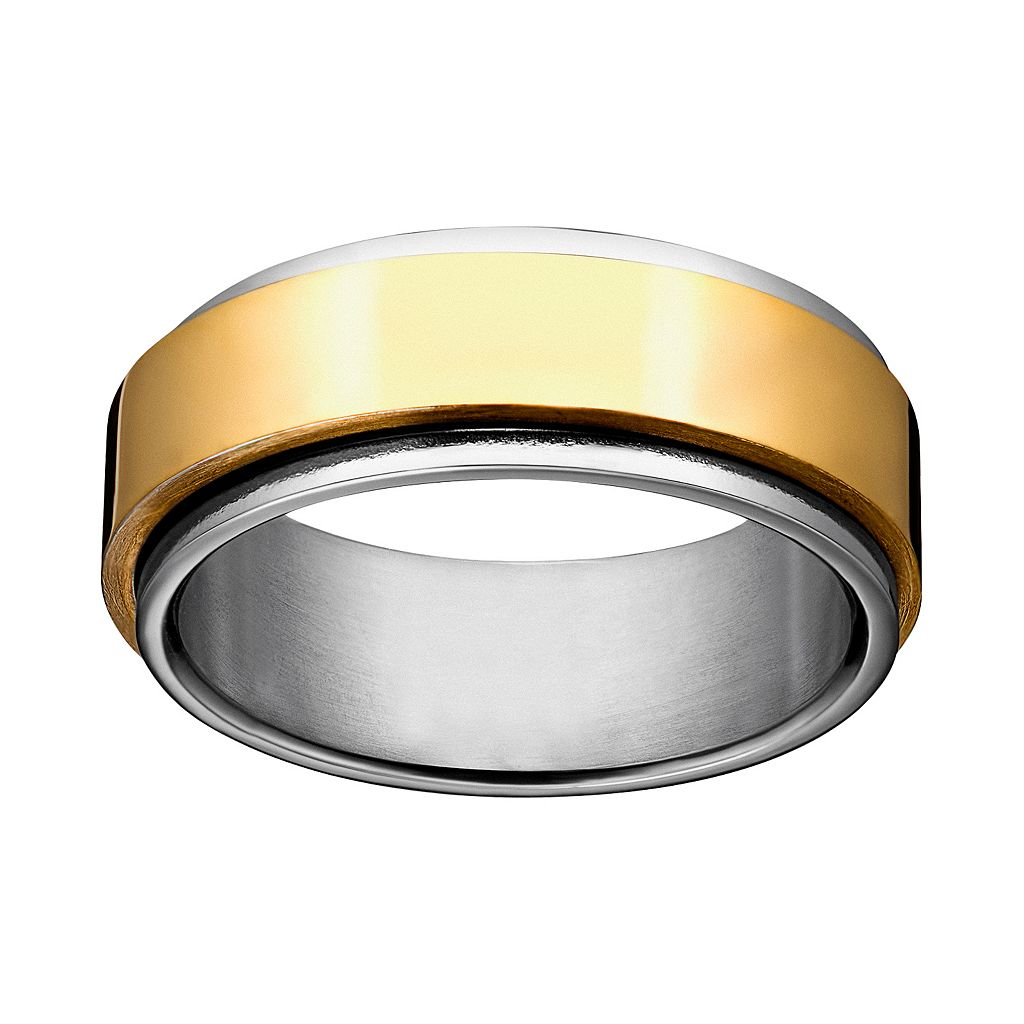 Yellow Ion-Plated Stainless Steel & Stainless Steel Spinner Band