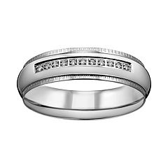 Titanium Cubic Zirconia Wedding Band