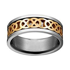 Yellow Ion-Plated Titanium & Titanium Celtic Knot Spinner Band