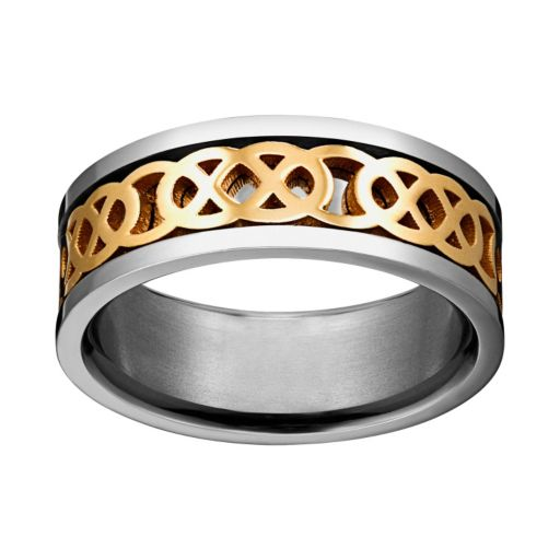Yellow Ion-Plated Titanium and Titanium Celtic Knot Spinner Band