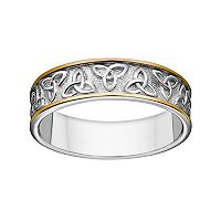 Sterling Silver Two Tone Celtic Trinity Knot Wedding Band