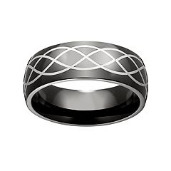 Black Ion-Plated Stainless Steel & Stainless Steel Celtic Band - Men