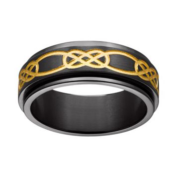 Black & Yellow Ion-Plated Titanium Celtic Knot Spinner Band
