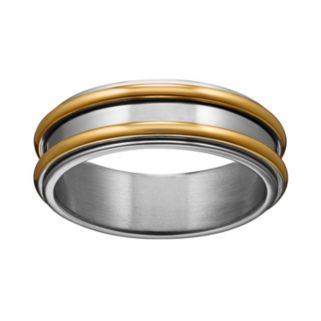 Yellow Ion-Plated Titanium and Titanium Striped Spinner Band