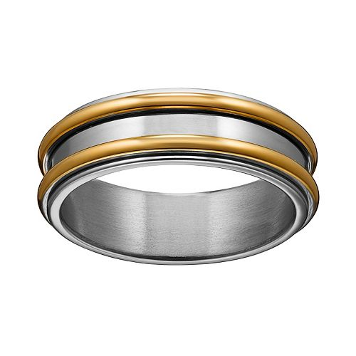 Yellow Ion-Plated Titanium & Titanium Striped Spinner Band