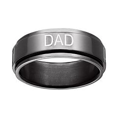 Black Ion-Plated Titanium 'Dad' Spinner Band - Men
