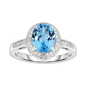 Sterling Silver Blue Topaz and Diamond Accent Oval Halo Ring