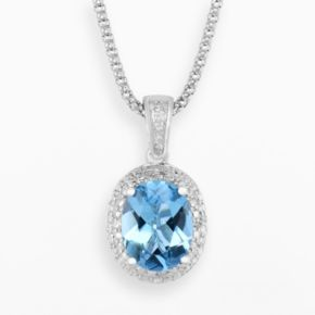 Sterling Silver Blue Topaz and Diamond Accent Oval Halo Pendant
