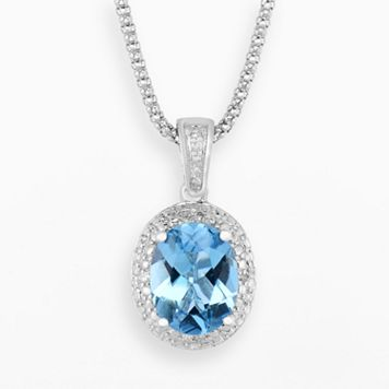 Sterling Silver Blue Topaz & Diamond Accent Oval Halo Pendant