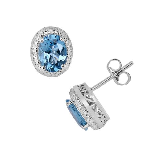 Sterling Silver Blue Topaz and Diamond Accent Oval Halo Stud Earrings