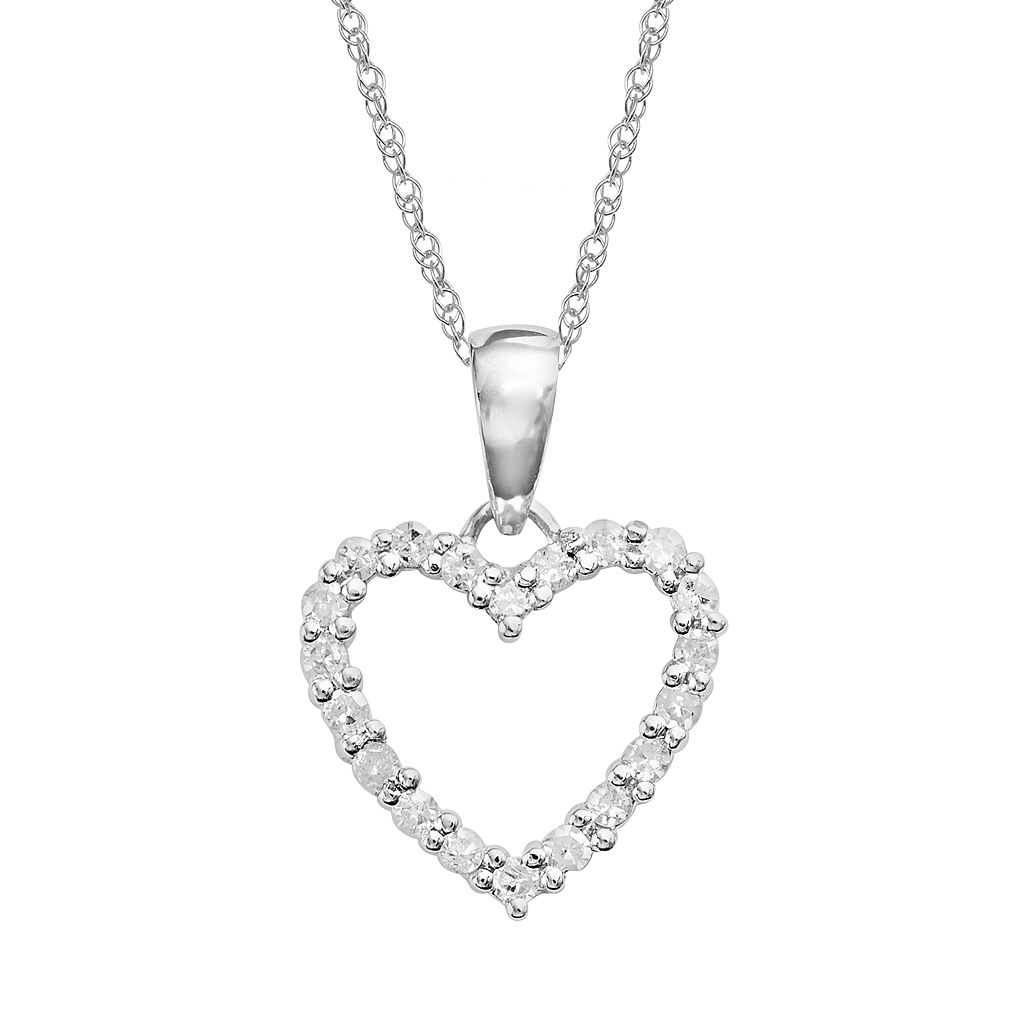 10k White Gold 1/4-ct. T.W. Diamond Heart Pendant