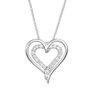 10k White Gold 1/4-ct. T.W. Diamond Heart Pendant