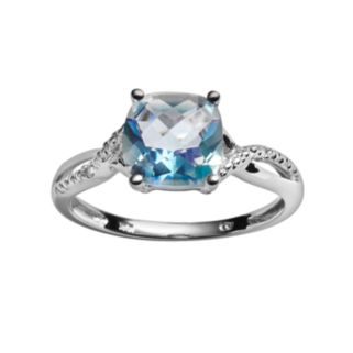 10k White Gold Cassiopeia Topaz and Diamond Accent Ring