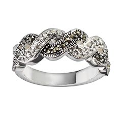 Silver Luxuries Silver-Plated Crystal & Marcasite Twist Ring