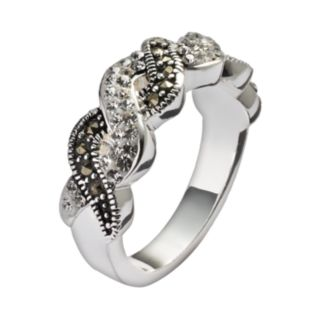 Silver Luxuries Silver-Plated Crystal and Marcasite Twist Ring