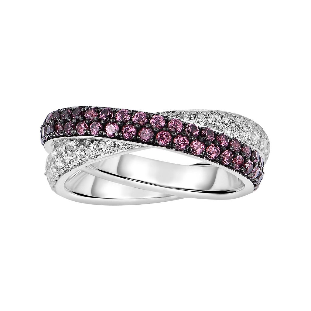 Oro Leoni Sterling Silver Rhodolite Garnet & White Topaz Crisscross Ring - Made with Genuine Swarovski Gemstones