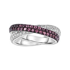 Oro Leoni Sterling Silver Rhodolite Garnet & White Topaz Crisscross Ring - Made with Genuine Swarovski Gemstones