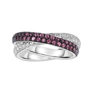 Oro Leoni Sterling Silver Rhodolite Garnet and White Topaz Crisscross Ring - Made with Genuine Swarovski Gemstones