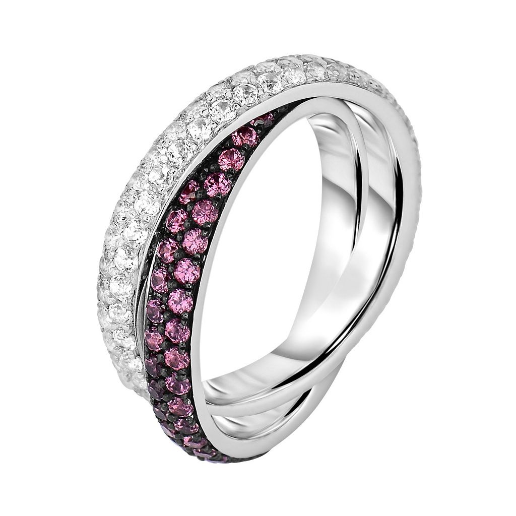 Oro Leoni Sterling Silver Rhodolite Garnet and White Topaz Crisscross Ring - Made with Genuine Swarovski Gemstones