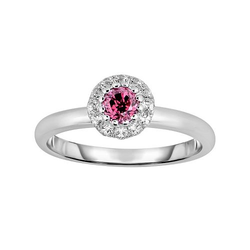 Oro Leoni Sterling Silver Rhodolite Garnet & White Topaz Halo Ring - Made with Genuine Swarovski Gemstones