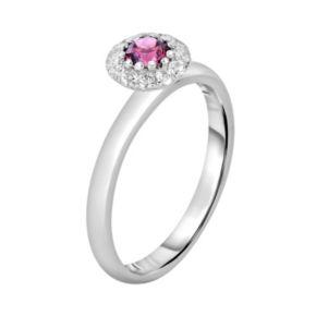 Oro Leoni Sterling Silver Rhodolite Garnet and White Topaz Halo Ring - Made with Genuine Swarovski Gemstones