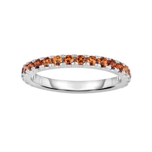 Oro Leoni Sterling Silver Citrine Eternity Ring - Made with Genuine Swarovski Gemstones