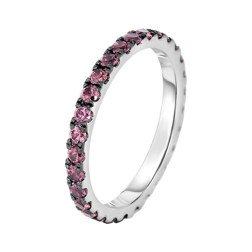 Oro Leoni Sterling Silver Rhodolite Garnet Ring - Made with Genuine Swarovski Gemstones