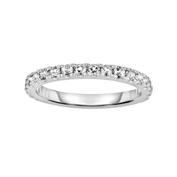 Oro Leoni Sterling Silver White Topaz Eternity Ring - Made with Genuine Swarovski Gemstones
