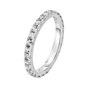 Oro Leoni Sterling Silver White Topaz Eternity Ring - Made with Genuine Swarovski Gemstones