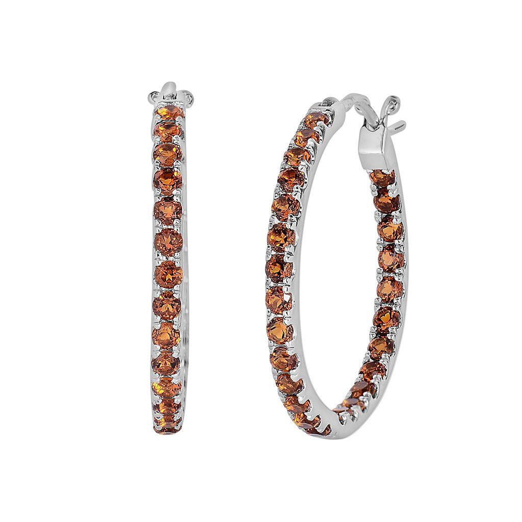 Oro Leoni Sterling Silver Citrine Inside-Out Hoop Earrings - Made with Genuine Swarovski Gemstones