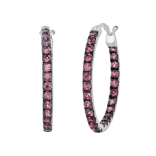 Oro Leoni Sterling Silver Rhodolite Garnet Inside-Out Hoop Earrings - Made with Genuine Swarovski Gemstones