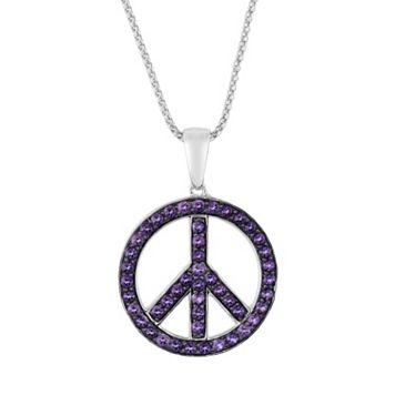 Oro Leoni Sterling Silver Amethyst Peace Sign Pendant - Made with Genuine Swarovski Gemstones