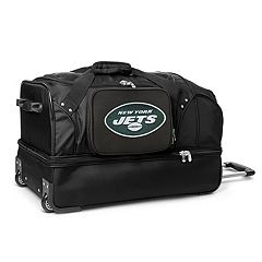 New York Jets 27 in Wheeled Drop-Bottom Duffel Bag