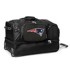 New England Patriots 27 in Wheeled Drop-Bottom Duffel Bag