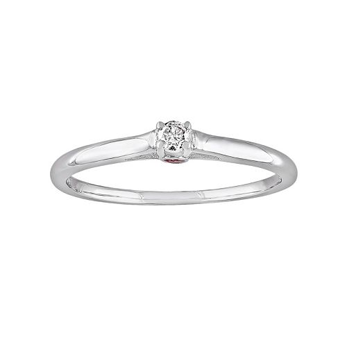 Round-Cut Diamond Accent & Pink Sapphire Engagement Ring in Sterling Silver