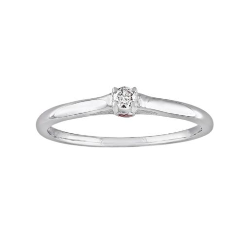 Stella Grace Round-Cut Diamond Accent and Pink Sapphire Engagement Ring in Sterling Silver