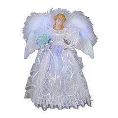 Kurt S. Adler 12-in. LED Fiber Optic White & Silver Angel Christmas Tree Topper