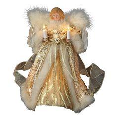 Kurt Adler 10-in. Lighted Ivory & Gold Angel Christmas Tree Topper