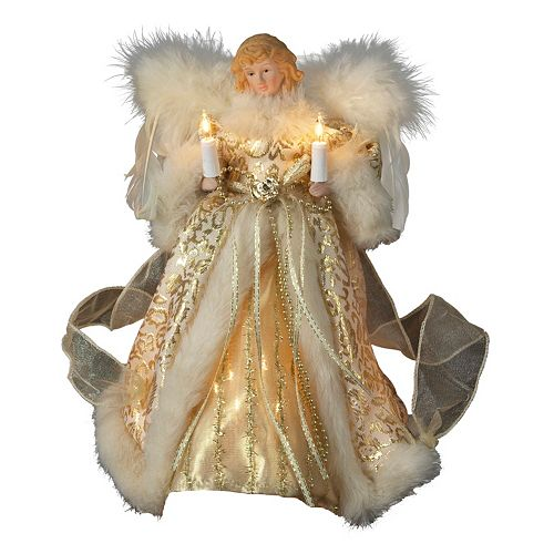 Lighted Ivory & Gold Angel Christmas Tree Topper - Kurt Adler 10-in. Lighted Ivory & Gold Angel Christmas Tree Topper