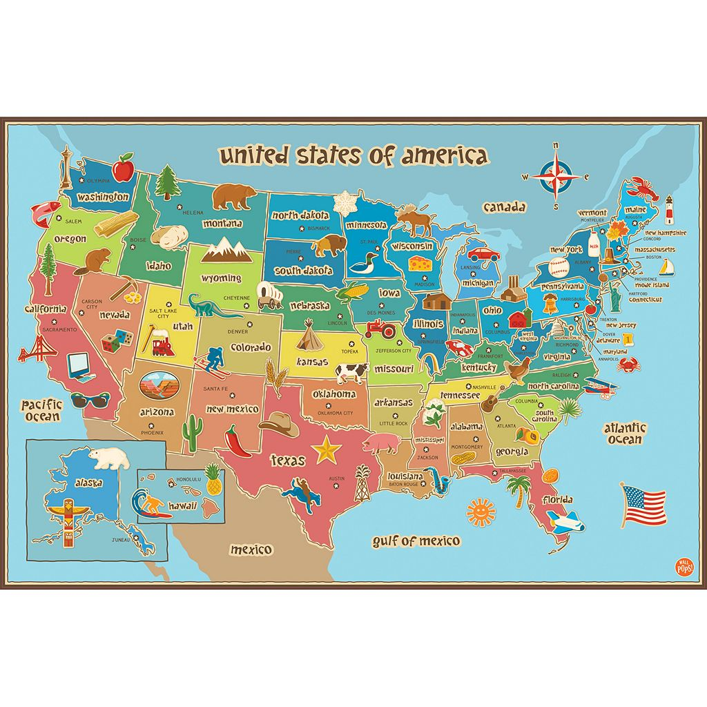 WallPops USA Kids Map Wall Decal