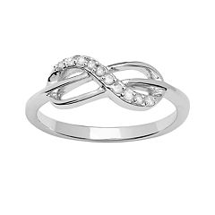 Sterling Silver 1/10 ctT.W. Diamond Infinity Ring