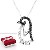 Sterling Silver 1/10-ct. T.W. Black & White Diamond Penguin Pendant