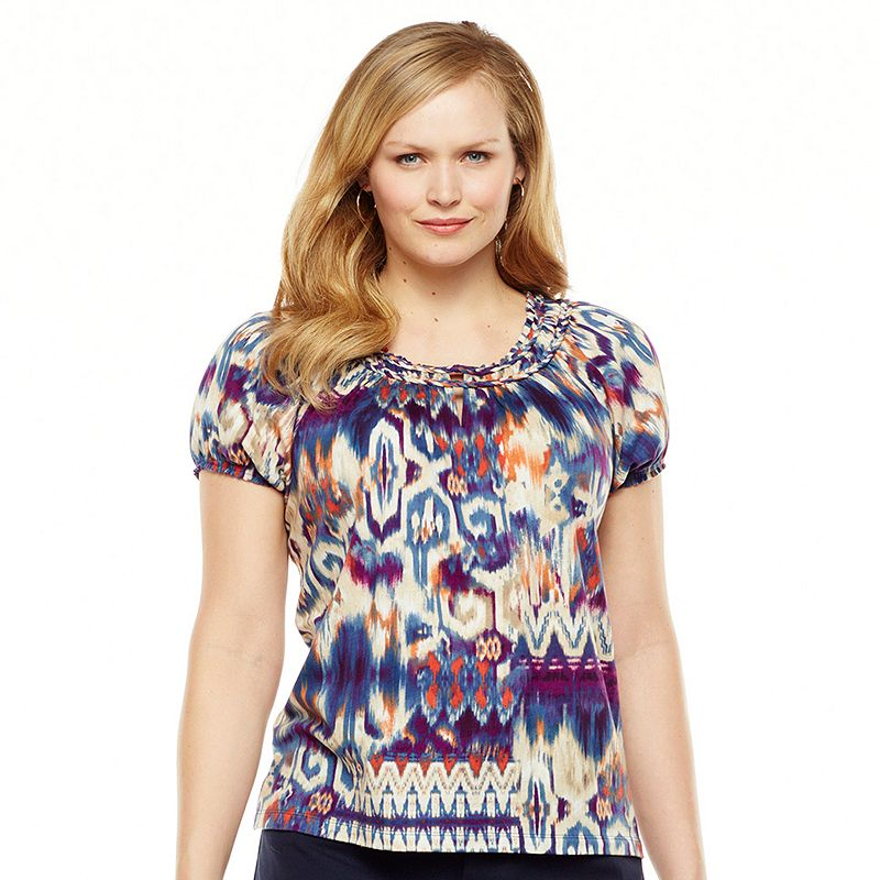 Chaps Ikat Braided Peasant Top - Women's Plus