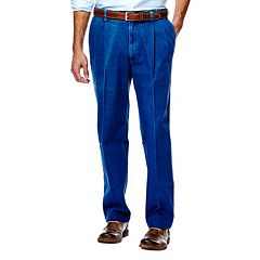 Men's Haggar® Work to Weekend® Classic-Fit Pleated Denim Pants