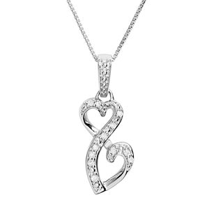 Love Is Forever Sterling Silver 1/10-ct. T.W. Diamond Double Heart Pendant