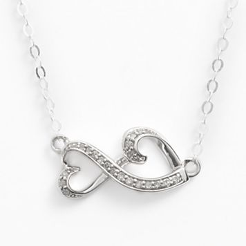 Love Is Forever Sterling Silver 1/10-ct. T.W. Diamond Double Heart Necklace