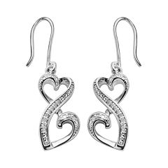 Love Is Forever Sterling Silver 1/10 ctT.W. Diamond Double Heart Drop Earrings