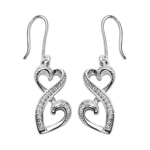 Love Is Forever Sterling Silver 1/10-ct. T.W. Diamond Double Heart Drop Earrings